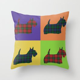 Scottie Dog - Tartan - Pop Art Style Throw Pillow