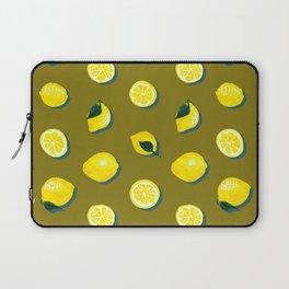 60s Lemon Pattern on Olive Laptop Sleeve