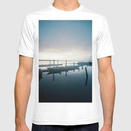 Blue Boats in the Mist on the Oregon Coast - Holga Double Exposure Film Photograph T-shirt