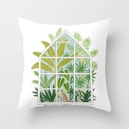 jungle greenhouse Throw Pillow
