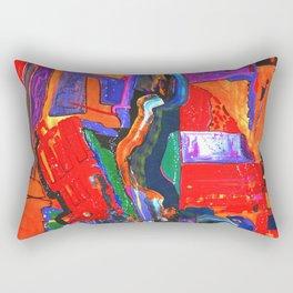 Metropolis Öl auf Leinwand Rectangular Pillow