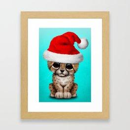 Christmas Cheetah Wearing a Santa Hat Framed Art Print