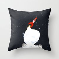 tintin Throw Pillows featuring Destination Moon by Calvin Wu