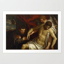 Paolo Veronese - The Dead Christ Supported by an Angel and Adored by a Franciscan Art Print