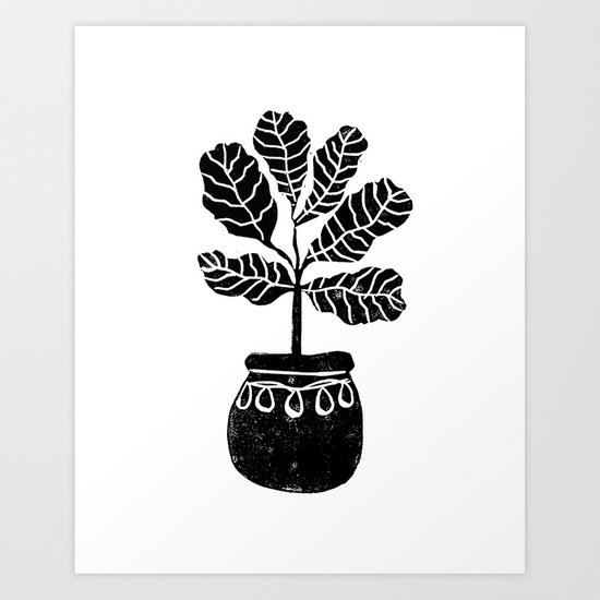 Fiddle Leaf Fig tree linocut black and white minimal modern lino carving monochromatic trendy art Art Print