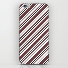 Pantone Red Pear and White Thick and Thin Angled Lines - Diagonal Stripes iPhone Skin