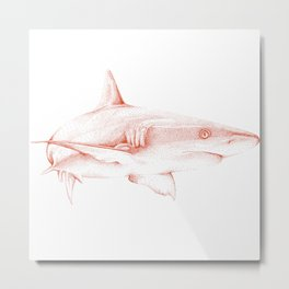 Shark Illustration - Pointillism Japanese-Inspired Art by Design by Cheyney Metal Print