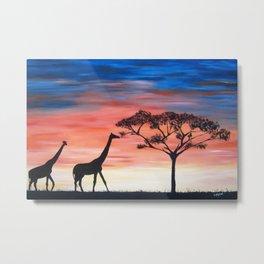 Africa Series - Giraffes Seeking Shelter Before the Storm Metal Print