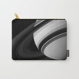 Saturns Rings Cassini HuygensOrbiter Black and White Image Carry-All Pouch