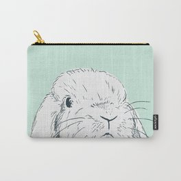 Curious Holland Lop Bunny - Light Blue Carry-All Pouch