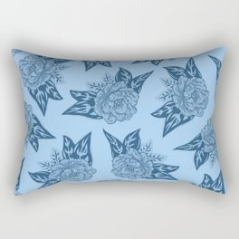 Cabbage Roses in Blue Rectangular Pillow