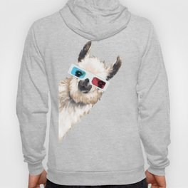 Sneaky Llama with 3D Glasses in Pink Hoody