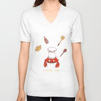 cooking V-neck T-shirts featuring Cooking Crab by Schewy