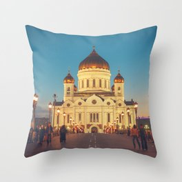 Cathedral of Christ the Savior in Moscow, Russia Throw Pillow