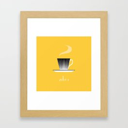 Zebra. Yellow Framed Art Print