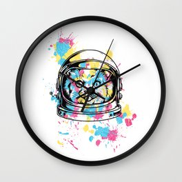 An astrocat and random color patches Wall Clock