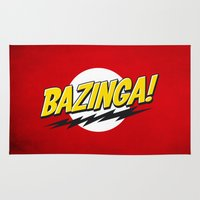 bazinga Area & Throw Rugs featuring Bazinga Flash by Nxolab