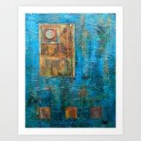 Teal Windows Art Print