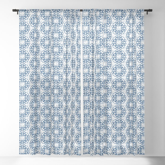 Japanese Geometric Flower Stitching in Blue and White Sheer Curtain