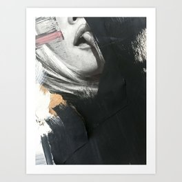 Thoughts | Collage Series 11 | mixed-media piece in gold, black and white Art Print