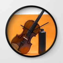 Still-life with a violin and a dark bottle Wall Clock