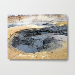 Bubbling Mud Pots at Námafjall Hverir in Northeast Iceland Metal Print