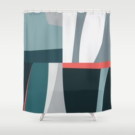 Organic Geometric 01 Blue Shower Curtain