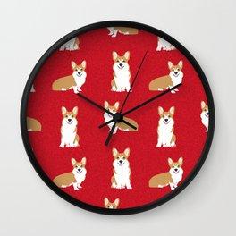 Corgis - Cute corgi, dog pet, corgi decor, corgi pillow, corgi bedding, corgi pattern, cute corgi de Wall Clock