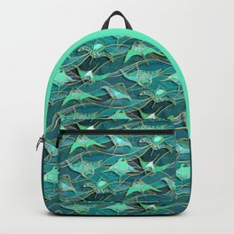 Patchwork Manta Rays in Jade and Emerald Green Backpack