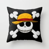 luffy Throw Pillows featuring Jack Luffy by le.duc