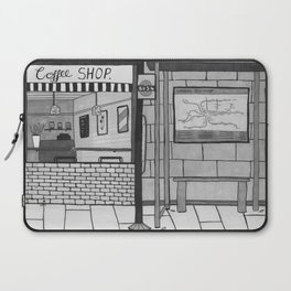 London Coffee Shop in Black and White Laptop Sleeve