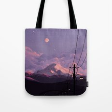 Mt Rainier with Powerlines Tote Bag