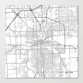 Fort Wayne Map, USA - Black and White Canvas Print