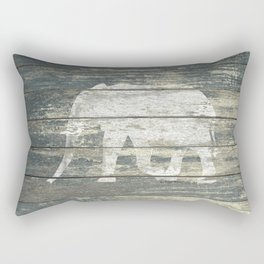 White Elephant Silhouette on Teal Wood A215C Rectangular Pillow