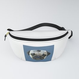 Pug Drawing in Blue Fanny Pack