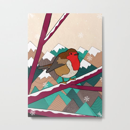 Winter Robin Metal Print