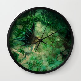 Abstract illustration of fairy fly in the forest Wall Clock