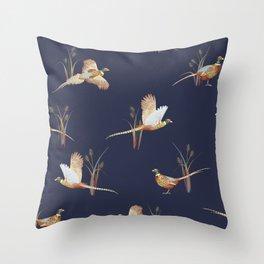 Pheasants on Navy Throw Pillow