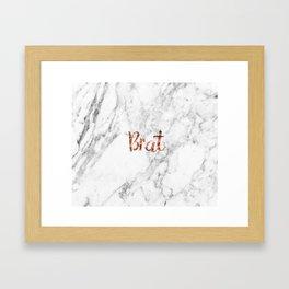 Rose gold marble - brat Framed Art Print