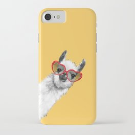 Fashion Hipster Llama with Glasses iPhone Case