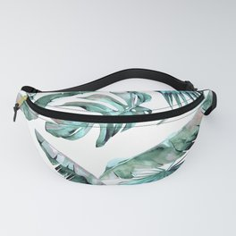 Tropical Palm Leaves Blue Green on White Fanny Pack