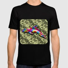 DOLPHIN COLORS 3D Black MEDIUM Mens Fitted Tee