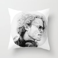 ashton irwin Throw Pillows featuring Ashton by Drawpassionn