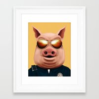 pigs Framed Art Prints featuring PIGS by Brandon Juarez