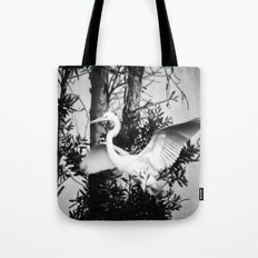 Great Egret In The Trees Tote Bag