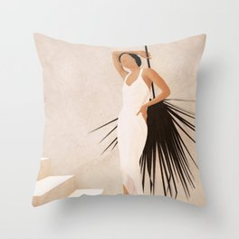 Minimal Woman with a Palm Leaf Throw Pillow