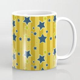 Blue stars on a yellow background Coffee Mug