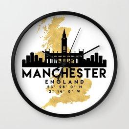 MANCHESTER ENGLAND SILHOUETTE SKYLINE MAP ART Wall Clock