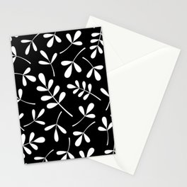 White on Black Assorted Leaf Silhouettes Stationery Cards