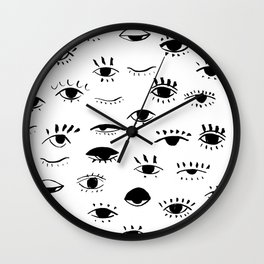 many eyes. black and white hand drawn illustration Wall Clock